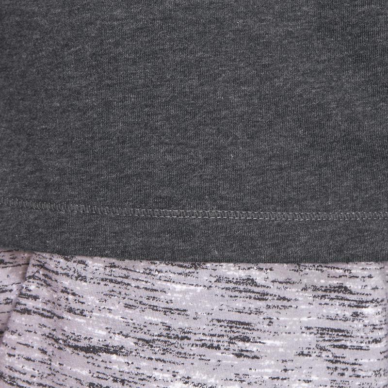 500 Regular-Fit Half-sleeved Gentle Gym & Pilates T-Shirt - Dark Grey