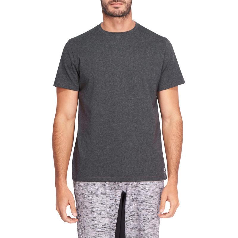 Camiseta 500 regular Pilates y Gimnasia suave hombre gris oscuro