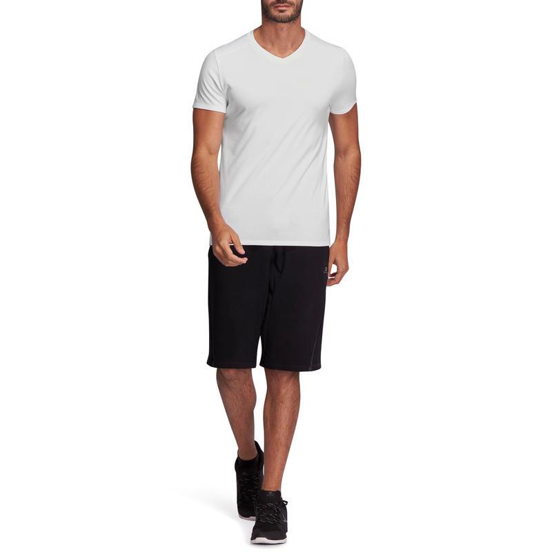 T-shirt 500 col V slim Pilates Gym douce blanc homme