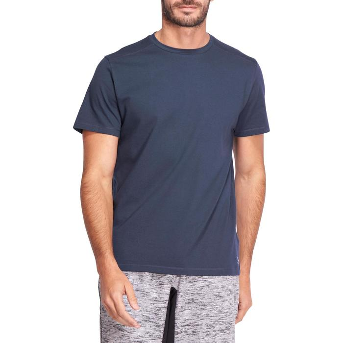 Camiseta Manga Corta Gimnasia Pilates Domyos 500 Regular Hombre Azul Marino