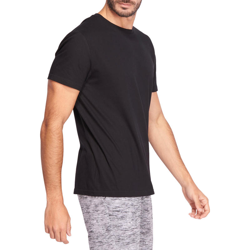 100 Sportee Regular-Fit 100% Cotton Gym Stretching T-Shirt - Black