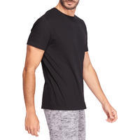 100 Sportee Regular-Fit 100% Cotton Exercise Stretching T-Shirt - Black