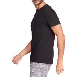 Camiseta Manga Corta Gimnasia Pilates Domyos 100 Hombre Negro Algodón