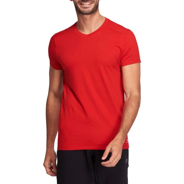 T-shirt 500 col V slim Gym Stretching homme - 1075163