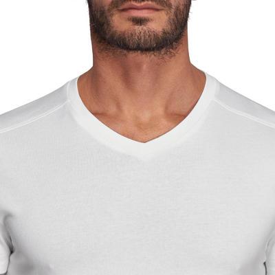 Чоловіча футболка 500 Slim-Fit з V-подібним вирізом - Біла