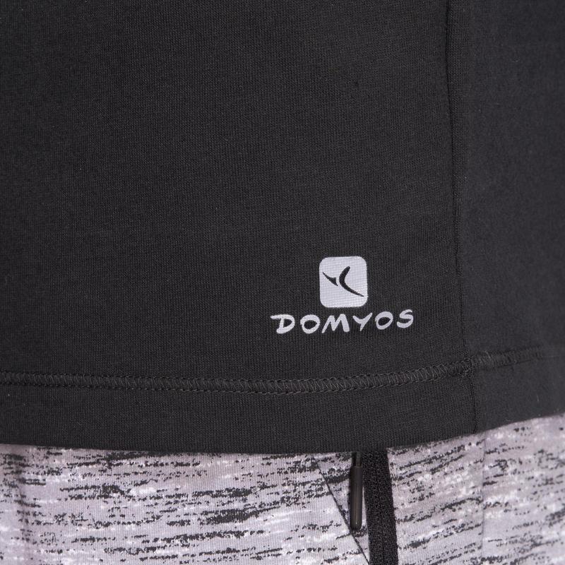 500 Half-sleeved Regular-Fit Pilates & Gentle Gym T-Shirt - Black