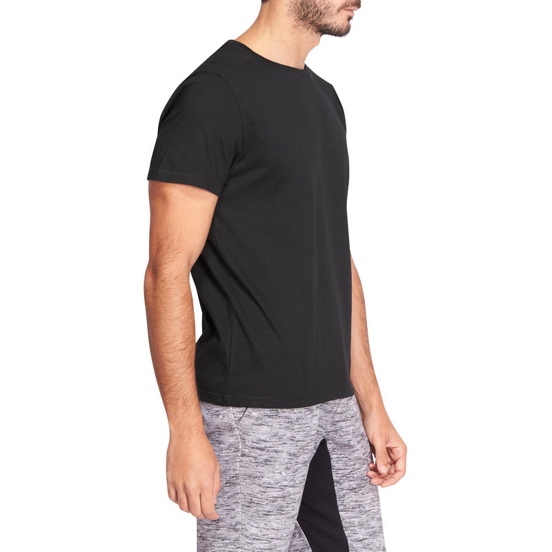 500 Half-sleeved Regular-Fit Pilates & Gentle Gym T-Shirt - Black
