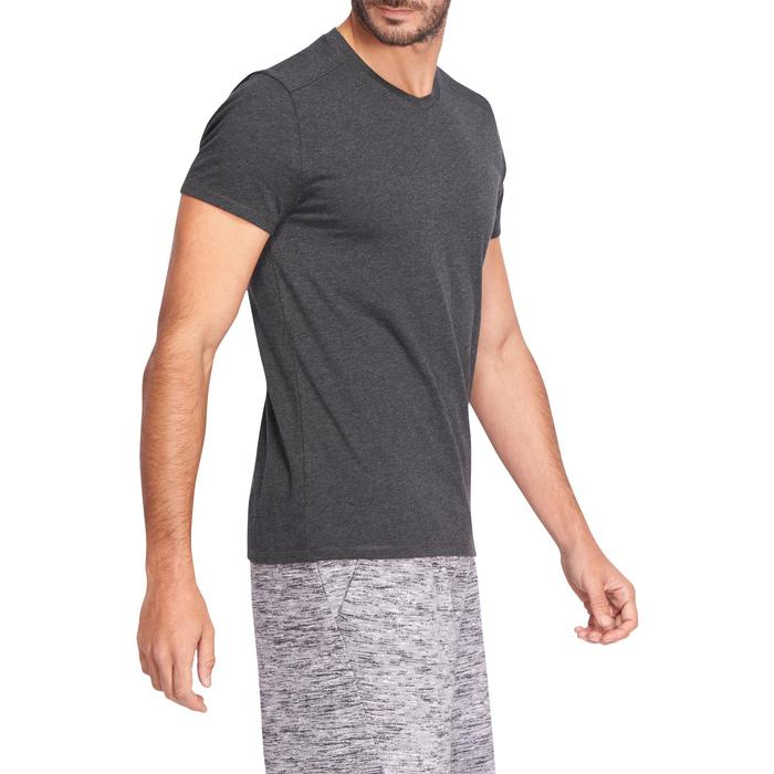 T-shirt 500 col V slim Gym Stretching homme - 1075179