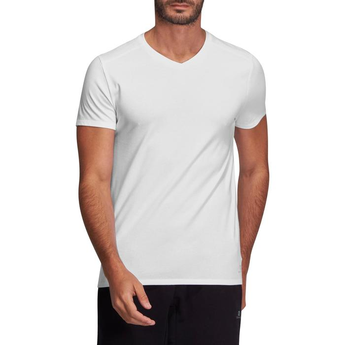 Camiseta 500 cuello de pico slim Pilates y Gimnasia suave blanco hombre