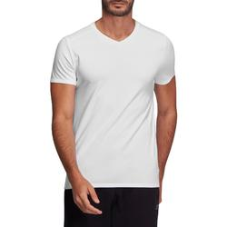 T-shirt 500 col V slim Pilates Gym douce blanc homme