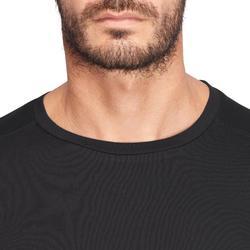 T-shirt 500 regular Pilates Gym douce noir homme