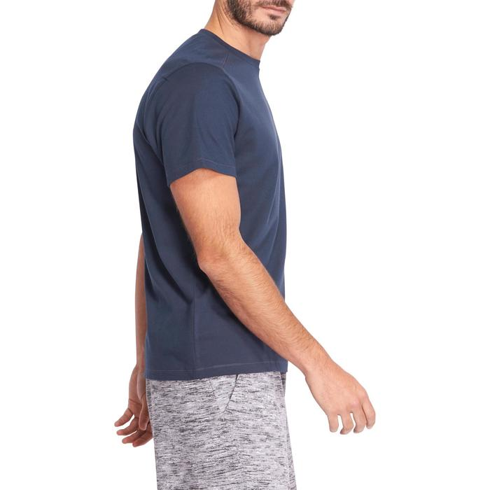 T-shirt 500 regular fit pilates en lichte gym heren marineblauw