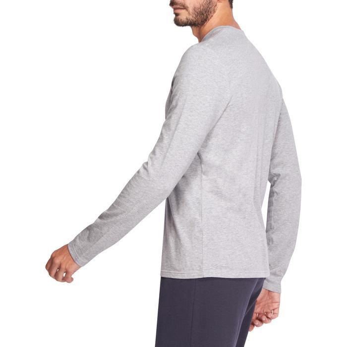 Camiseta 100 de manga larga gimnasia y pilates para hombre gris