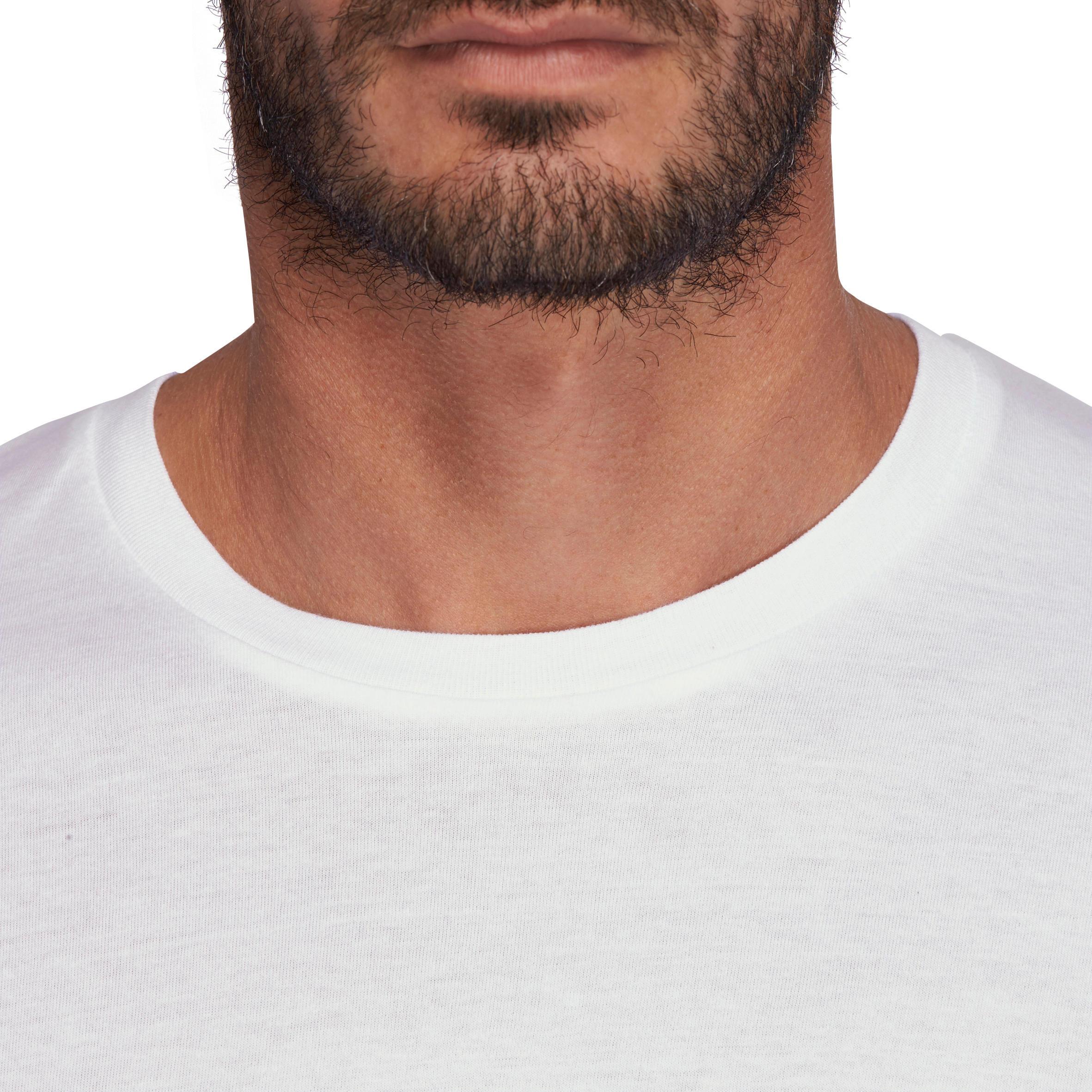 T-Shirt 100 classique gym et pilates homme blanc Sportee