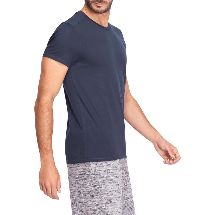 T-Shirt 500 V Slim Gym & Pilates Herren marineblau