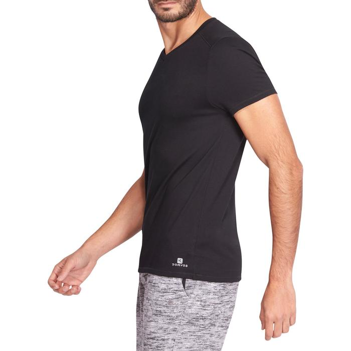 T-shirt 500 col V slim Gym Stretching homme - 1075242