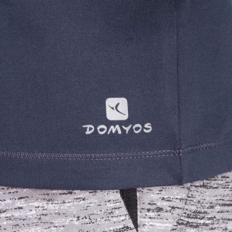 Camiseta regular 500 de Pilates y Gimnasia suave para hombre azul marino