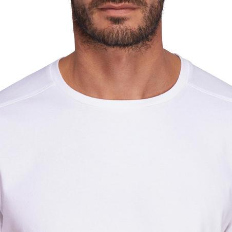 T-shirt 500 régulierr Pilates et gym douce blanc homme