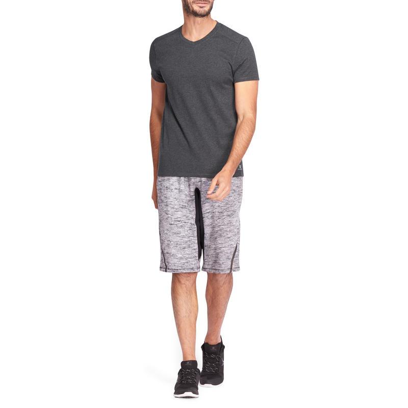 T-shirt 500 col V slim Pilates Gym douce homme gris chiné foncé