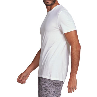 T-Shirt Sportee 100 regular 100% coton Gym Stretching blanc homme