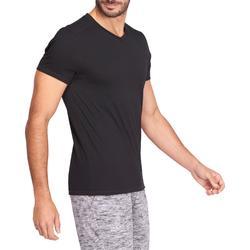 Camiseta Manga Corta Gimnasia Pilates Domyos 500 Hombre Negro Algodón