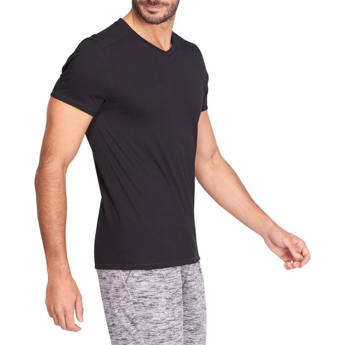 T-shirt 500 V-hals slim fit pilates en lichte gym heren zwart