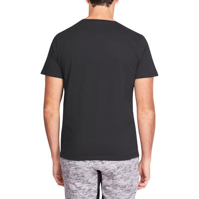 Camiseta Algodón Manga Corta Regular Fitness Nyamba 500 Hombre Negro