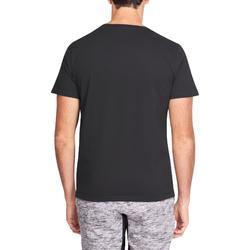 T-shirt 500 regular Pilates Gym douce noir homme