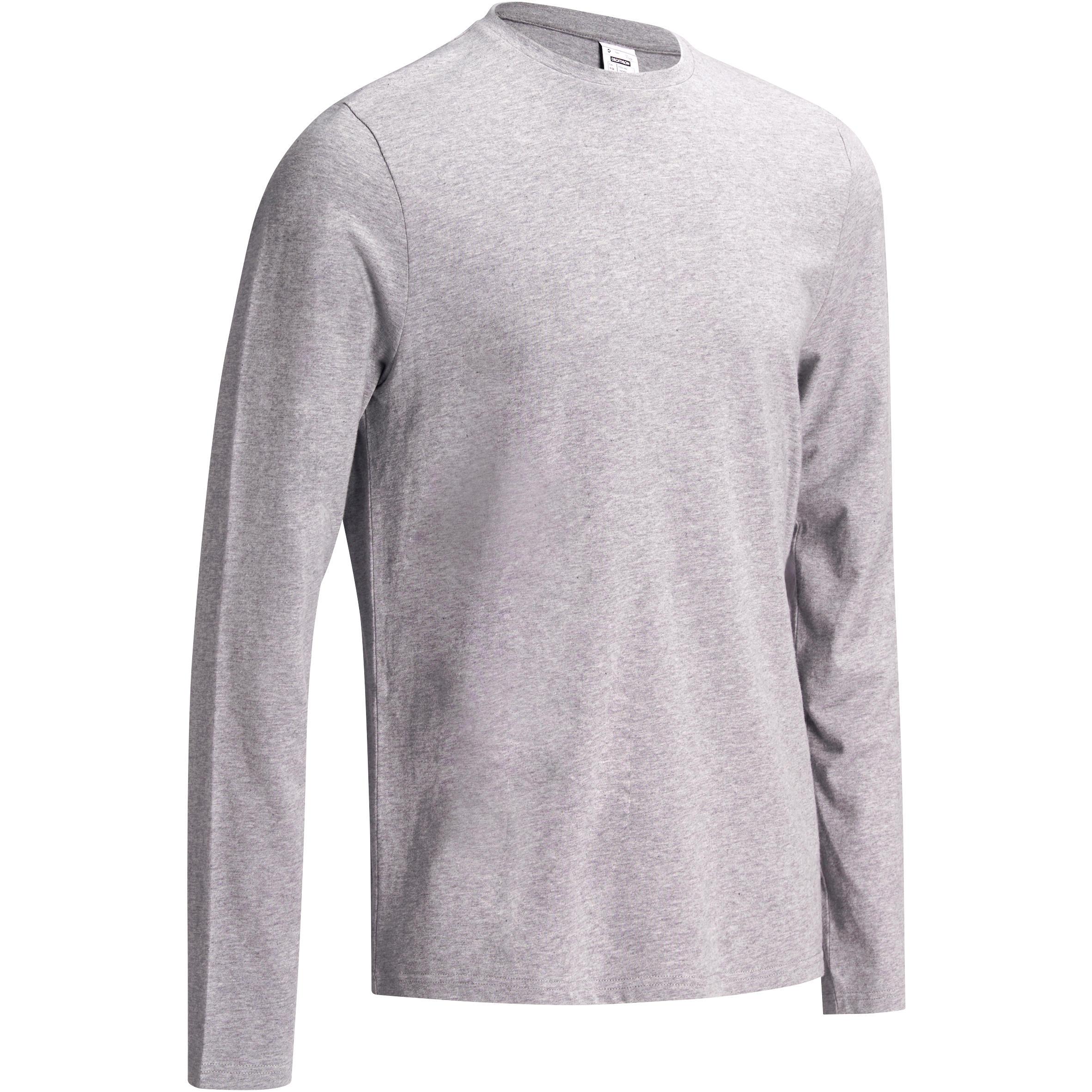Domyos Heren T-shirt 100 lange mouwen Gym & Pilates