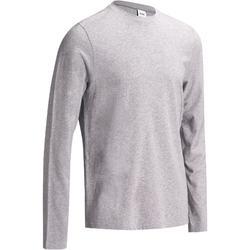 Heren T-shirt 100 met lange mouwen voor gym en stretching regular