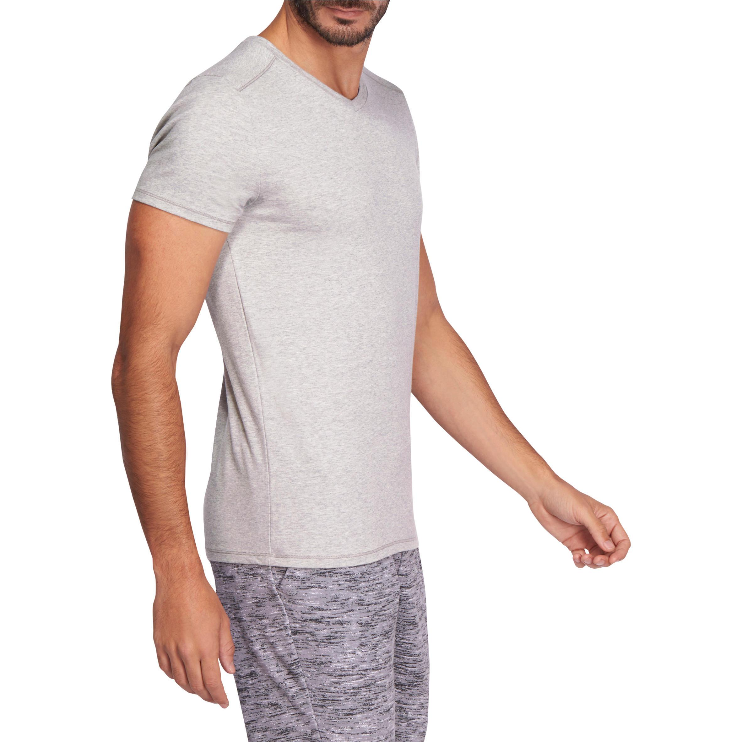 500 V-Neck Slim-Fit Gym & Pilates T-Shirt - Mottled Medium Grey