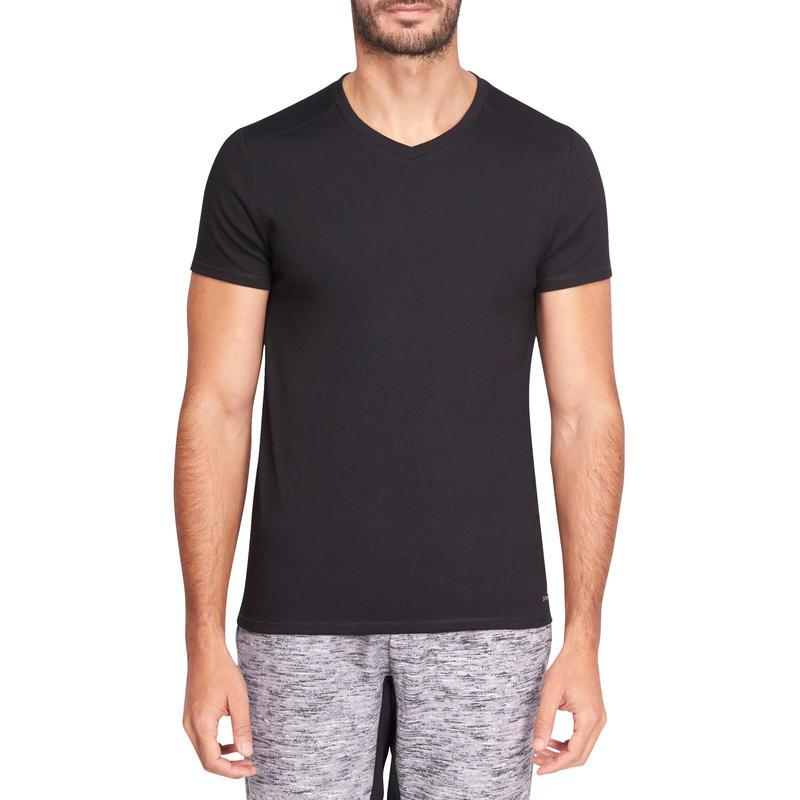 Camiseta 500 gimnasia y pilates slim cuello en V hombre negra