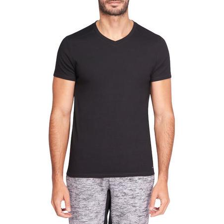 T-shirt 500 col V ajusté Pilates et gym douce noir homme