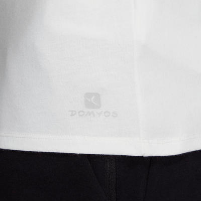 Camiseta Algodón Manga Corta Gimnasia Pilates Domyos 500 Hombre Blanco