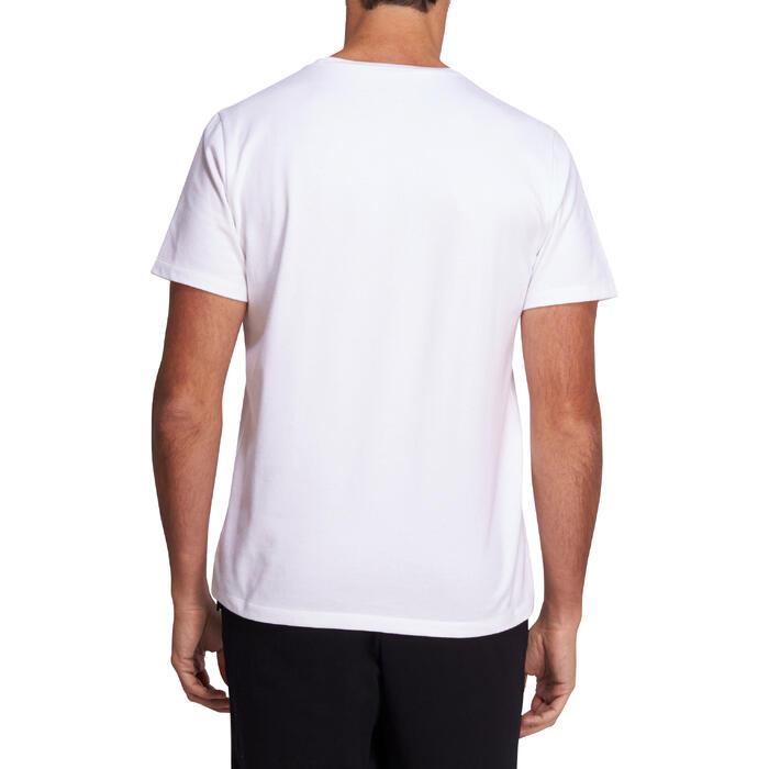Camiseta Manga Corta Gimnasia Pilates Domyos 500 Corte Regular Hombre Blanco