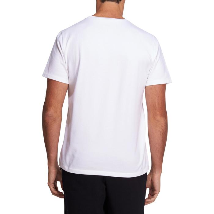 T-Shirt 500 Regular Pilates & Gym Herren weiß