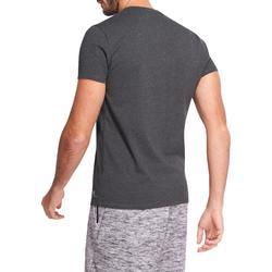 Camiseta Manga Corta Gimnasia Pilates Domyos 500 Cuello Pico Hombre Gris