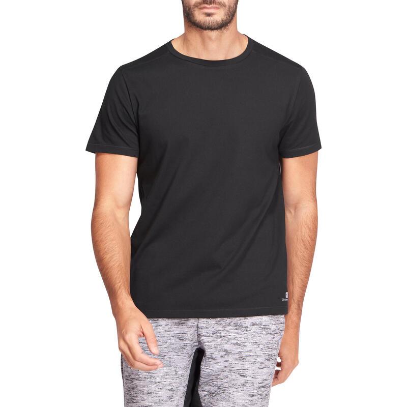 Camiseta 500 regular Pilates y Gimnasia suave negra hombre