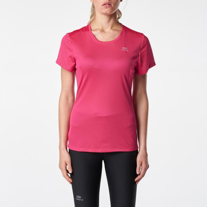 女款跑步T恤RUN DRY - 粉紅色