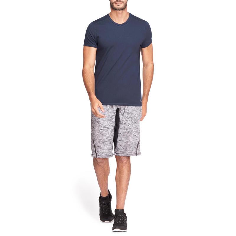 500 V-Neck Slim-Fit Gentle Gym & Pilates T-Shirt - Navy Blue