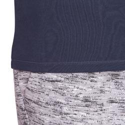 T-shirt 500 col V slim Pilates Gym douce homme bleu marine
