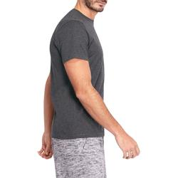 T-shirt 500 regular Pilates Gym douce homme gris foncé