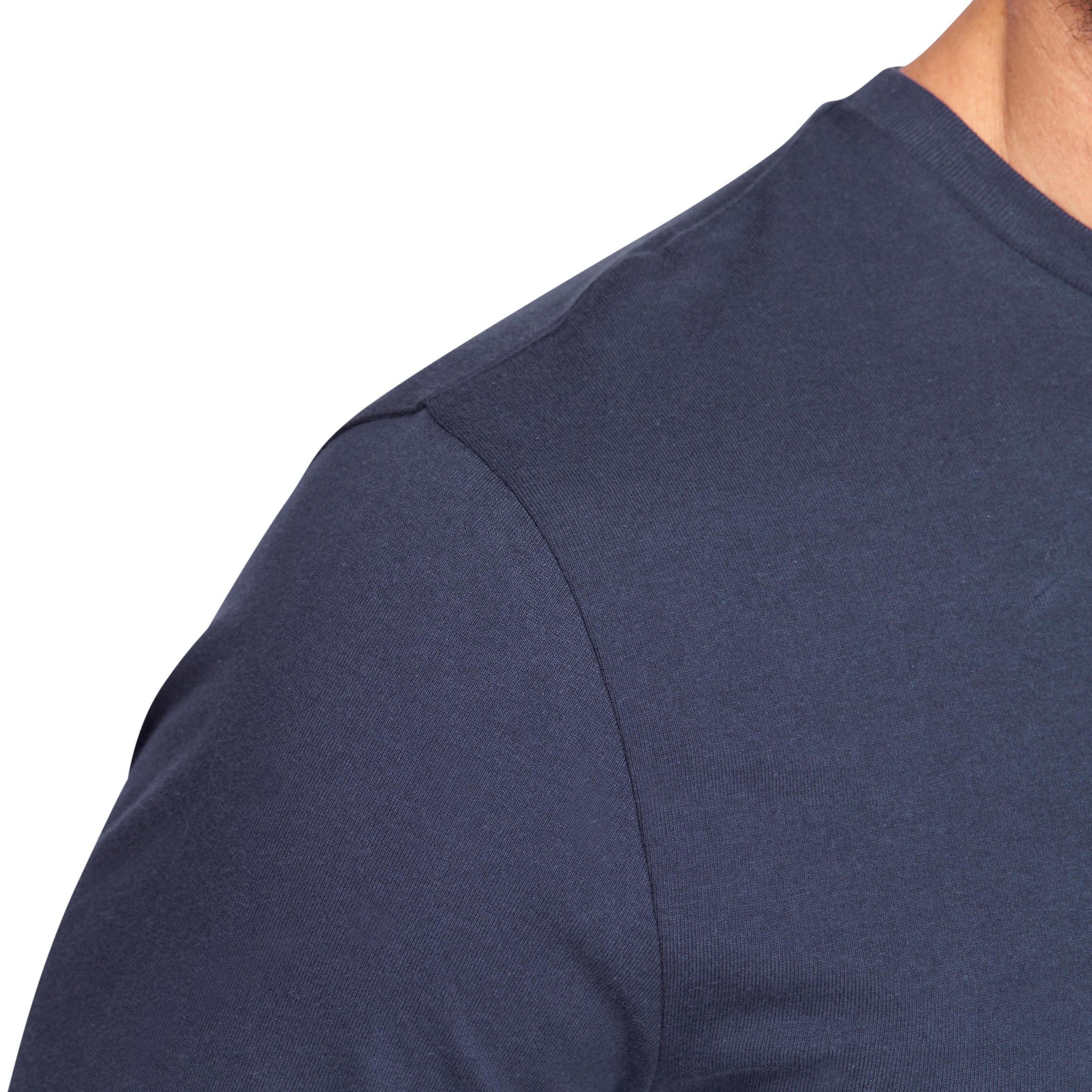 120 Long-Sleeved Pilates & Gentle Gym T-Shirt - Navy Blue