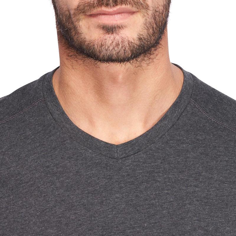 500 Slim-Fit V-Neck Pilates & Gentle Gym T-Shirt - Mottled Dark Grey