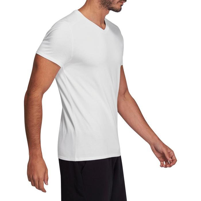 T-shirt 500 col V slim Gym Stretching homme - 1075435