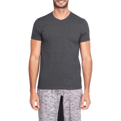 Camiseta cuello en V 500 slim gimnasia stretching hombre gris jaspeado oscuro