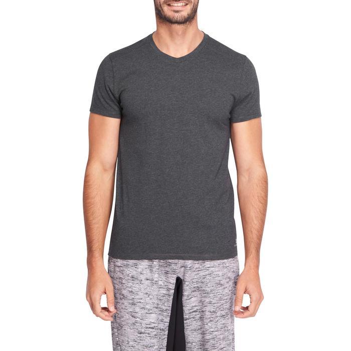 T-Shirt 500 V Slim Gym & Pilates Herren dunkelgrau meliert