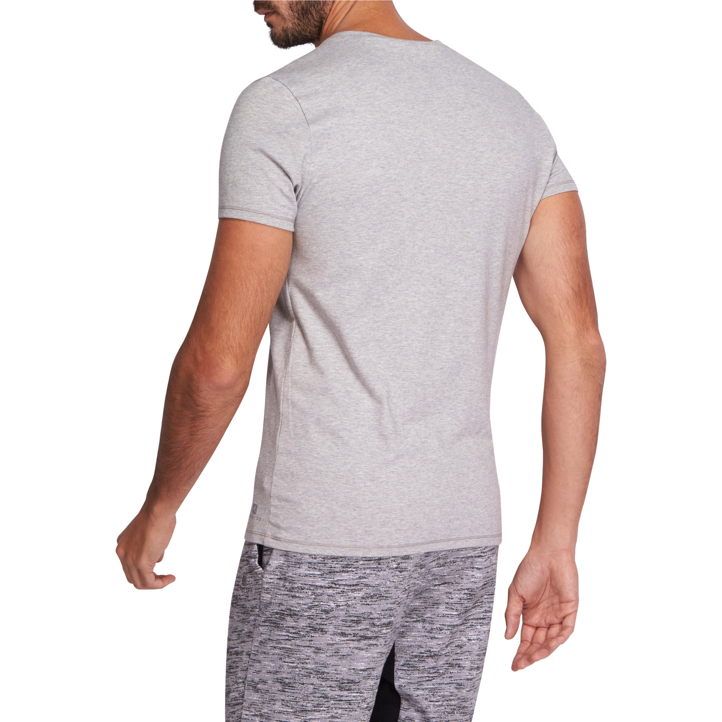 T-Shirt 500 Gym & Pilates slim col V homme gris chiné moyen