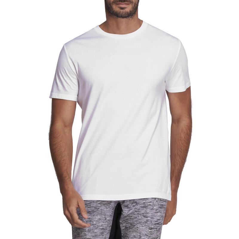 100 Sportee 100% Cotton Regular-Fit Gym Stretching T-Shirt - White