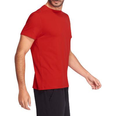 T-Shirt 500 regular manches courtes Gym & Pilates homme rouge